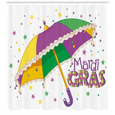 Mardi Gras Shower Curtain, Parade Preparations Umbrella Stars Confetti Figures Joyful Fun Party, Fabric Bathroom Set with Hooks, Purple Yellow Green, by Ambesonne