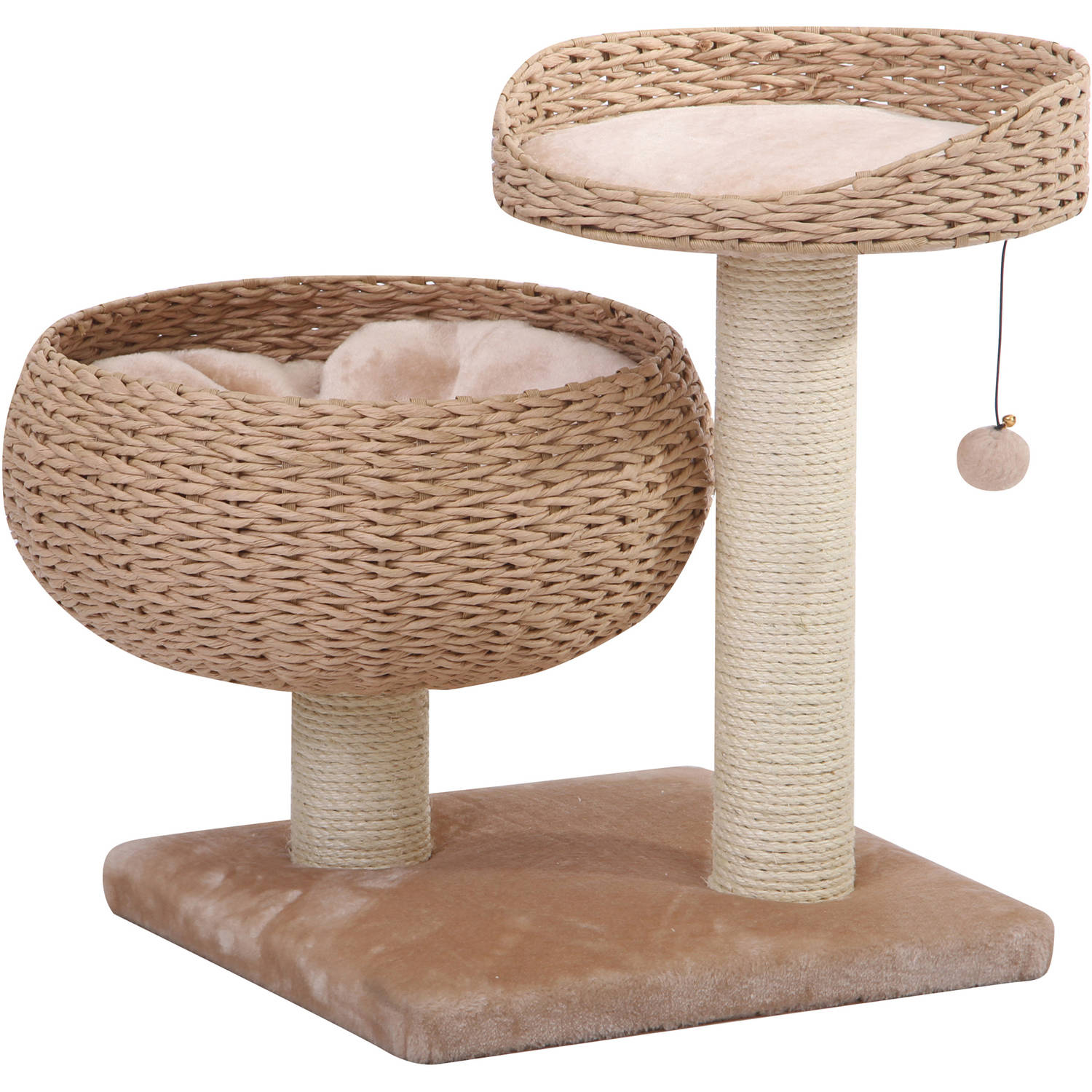 Petpals Group Cozy Paper Rope Perch with Bowl Lounge With Plush Fleece Pillow and Duel Sisal Posts