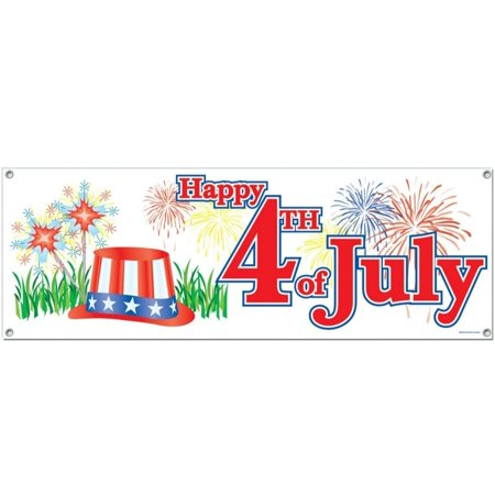 Club Pack of 12 Patriotic Themed â Happy 4th of Julyâ Sign Banner Party Decorations 5'