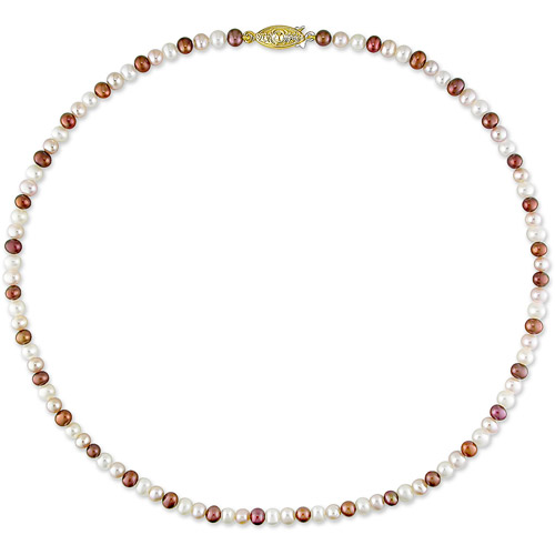 4-5mm Brown, Pink, and White Freshwater Pearl Necklace, 18""