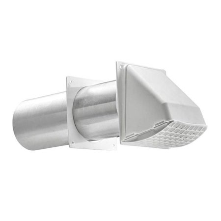 Lambro 222W Preferred Hood Vent With Tail Pipe and Trim Plate 3 Inch White Plastic ()