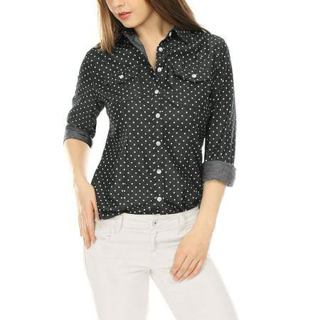 2 Pocket Button (Unique Bargains Women's Dots Point Collar Chest Pockets Button Down Shirt Black)
