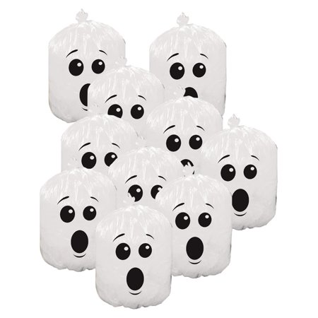 10 Plastic Halloween Goofy Ghost Leaf Bags Yard Decorations for $<!---->