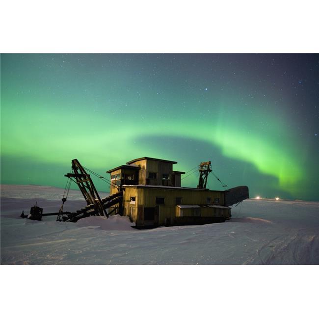 Green Northern Lights Dance Over A Historical Gold Dredge Near Nome Alaska Poster Print, 19 x 12 - image 1 de 1