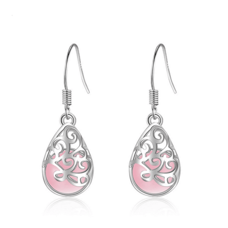 ON SALE - Shimmering Cat Eye Filigree Drop Earrings Pink ()