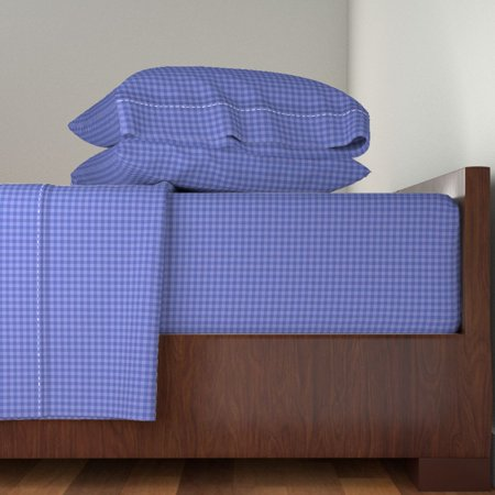 Gingham Check Purple Purplegingham 100% Cotton Sateen Sheet Set by Roostery ()