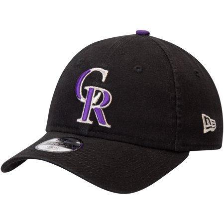 Colorado Rockies New Era Youth Core Classic Replica 9TWENTY Adjustable Hat - Black - OSFA