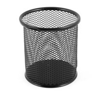 Unique Bargains Metal Netted Design Box Pens Pencils Round Pot Holder Container Case Organizer Black