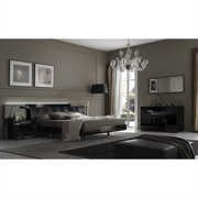 Rossetto Nightfly Platform Bed 6 Piece Bedroom Set in Lacquer Black