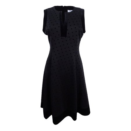 Flocked Dot Dress - Robbie Bee Women's Petite Velvet-Flocked Polka Dot Dress