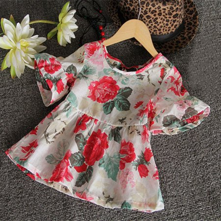 Fashion Baby Kids Girls Floral Short Sleeved Flounced T-Shirt Tops Blouses -