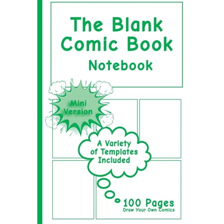 Blank Comic Book Notebook - Mini Version: Draw Your Own Comics, Comic Book Notebook / Cartoon Sketchbook, Multi-Templates, Superhero Green - [professional Binding] (Paperback) - Comic Book Superhero