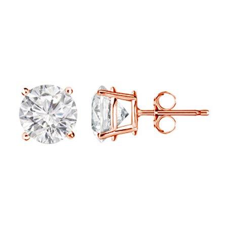 2.00 Carat Precious Diamond Stud Earrings 14K Rose Gold - image 1 de 2