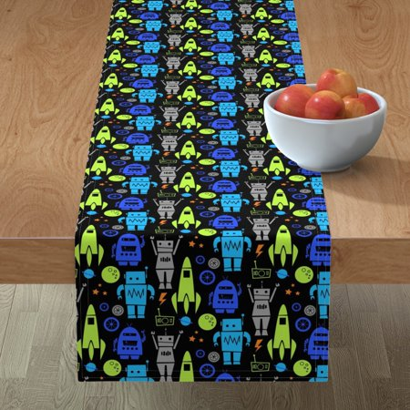 Image of Table Runner Robots Space Robot Boys Nursery Rockets Stars Planets Cotton Sateen