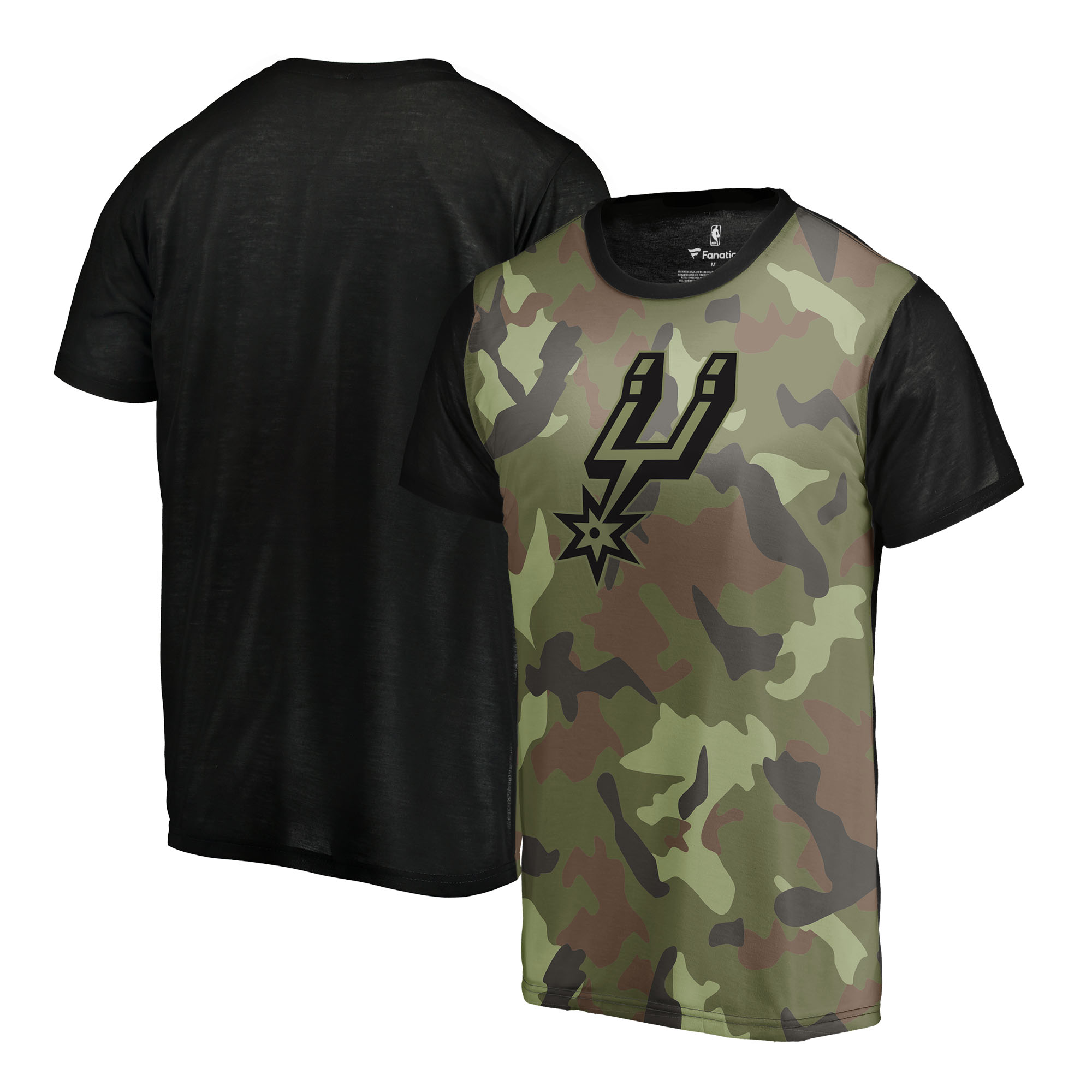 San Antonio Spurs Fanatics Branded Camo Collection Blast Sublimated T-Shirt - Camo