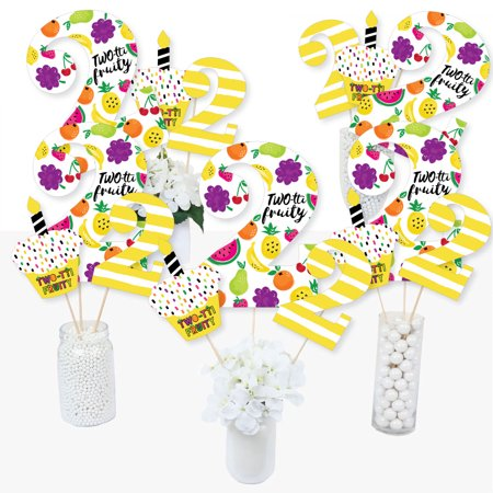 2nd Birthday Two-tti Fruity - Frutti Summer Second Birthday Party Centerpiece Sticks - Table Toppers - Set of 15](Summer Birthday Ideas)