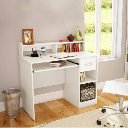 Ktaxon Computer Desk Home Office Workstation Laptop Table Drawer Shelf Furniture White ()