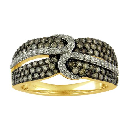 10K Yellow Gold 1.00cttw TDW Champagne and White Diamond Fashion Ring (G-H, I1-I2)