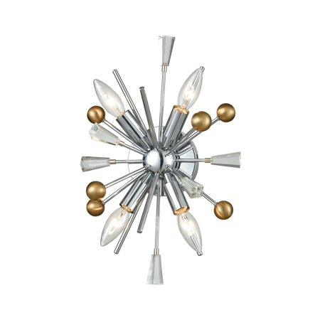 Williston 4-Light Sconce in Polished Chrome, Satin Brass