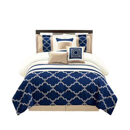 WPM 7 Pieces Complete Bedding Ensemble Navy Blue Taupe Ivory Beige Royal print Luxury Embroidery Comforter Set Bed-in-a-bag-Daisy (King)