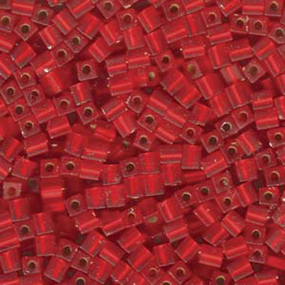 20 Grams Flame Red Matte Silver Lined Miyuki 4mm Square Cube Glass Seed, Loose Beads,