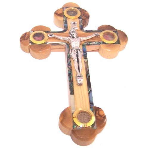 Thick Grade A Olive Wood 14 Stations Crucifix with Holy Land Samples and Mother