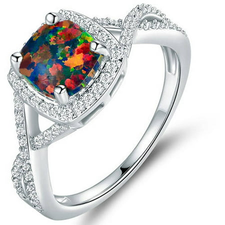 Black Opal 18kt White Gold-Plated Ring