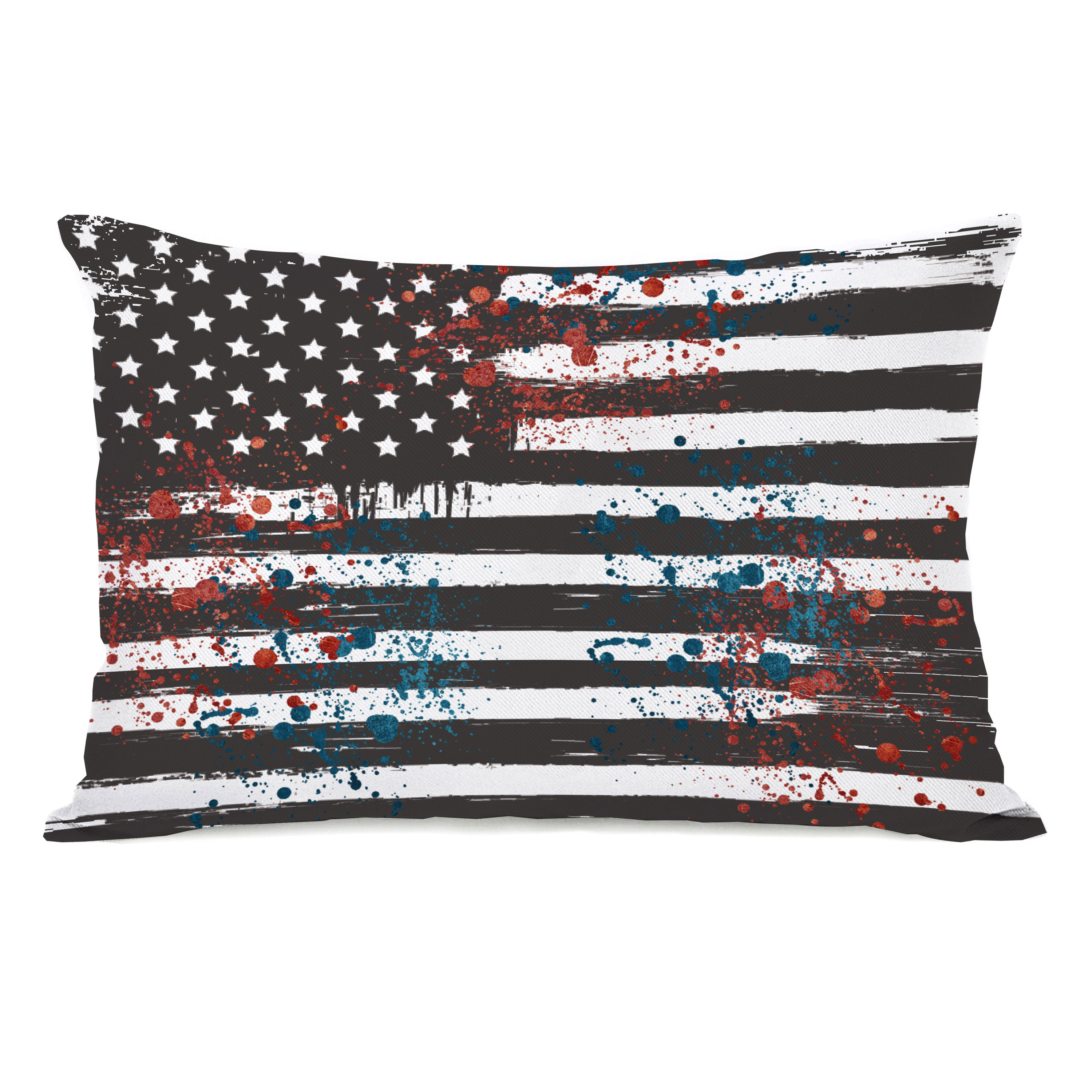 Grayscale Flag Splatters - Gray 14x20 Pillow by OBC
