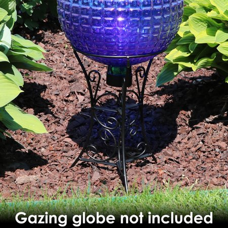 Sunnydaze Decorative Scroll Gazing Ball Stand for 10-Inch or 12-Inch Outdoor Garden Gazing Globes, Black Steel, 11-Inch