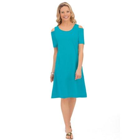 Women's Cold Shoulder Cotton Knit Short Sleeve A-Line Dress with Scoop Neckline, Xx-Large, Turquoise (Cotton Knit Long Dress)