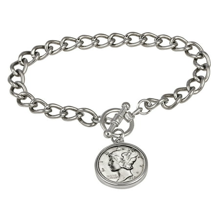 Silver Mercury Dime Silvertone Coin Toggle Bracelet
