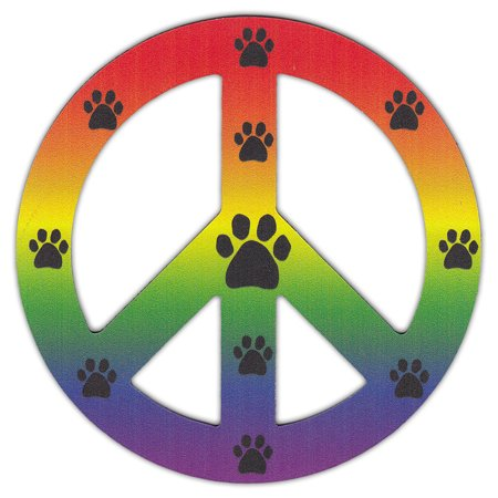 Peace Sign Shaped Magnets (See Through): Rainbow Design w/Paw Prints - Print Magnets