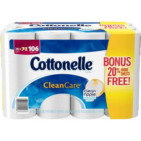 Cottonelle Clean Care Bonus Double Roll Toilet Paper  36 Count