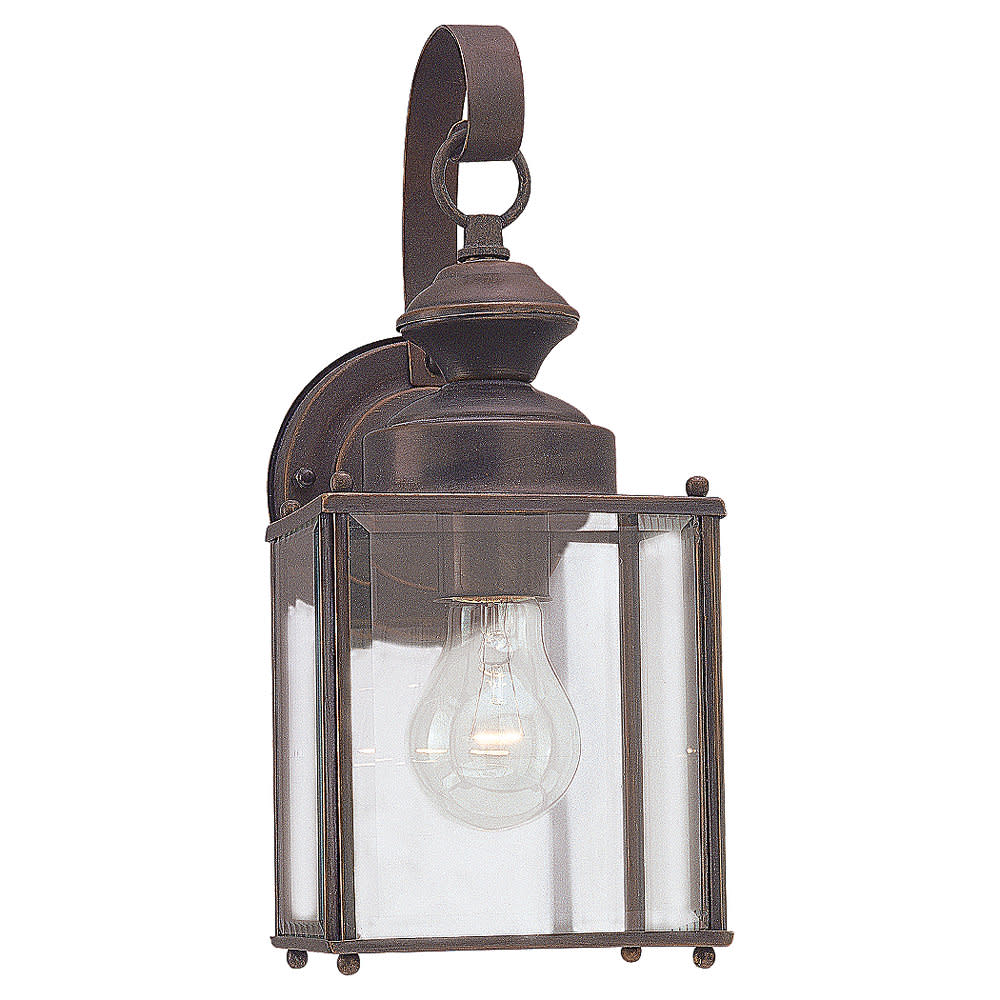 Sea Gull Lighting 8457 Flat Glass & Brass Lantern 1 Light Outdoor Lantern Wall S
