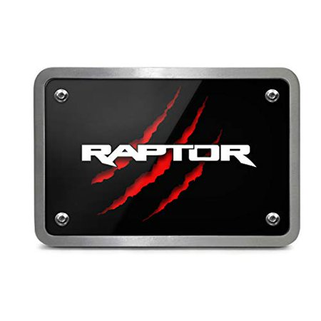Ford F150 Raptor 2017 Claw Marks UV Graphic Black Plate Billet Aluminum 2 inch Tow Hitch Cover, Made in