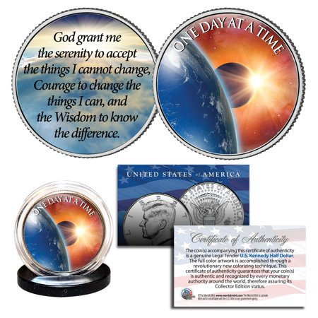 - ONE DAY AT A TIME Sun Moon Earth Pray 2-Sided JFK Half Dollar Holy Spirit Coin