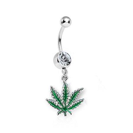 Gemstone Navel Ring (BodyJ4You Belly Ring Clear Gem CZ Pot Leaf Navel Dangle Bar 14G Retainer Piercing Jewelry)