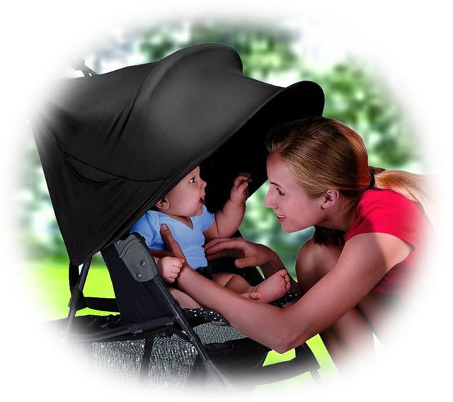 RayShade UV Protective Stroller Shade Improves Sun Protection for Strollers, Joggers and Prams Black by Summer Infant