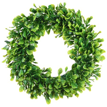 Fake Boxwood Wreath (Artificial Green Leaves Wreath - 15
