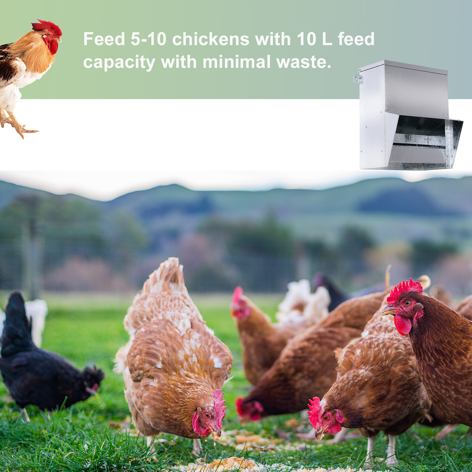 Holds 13 L of Feed PawHut Automatic Chicken Feeder No-Waste Poultry Feeder with Protective Lid for up to 4 Chickens