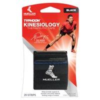 Mueller TYPHOON Kinesiology Therapeutic Tape, Pre-Cut I-Strips, Black