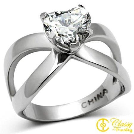 Classy Not Trashy® Size 8 Women's Heart Cut CZ Stainless Steel Criss Cross Band