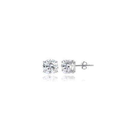 Sterling Silver White Sapphire 4mm Round Stud Earrings 4mm Sapphire Stud Earrings