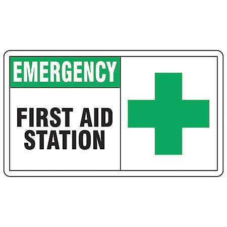 "First Aid Sign, Accuform Signs, MFSD926VA, 7""Hx10""W"