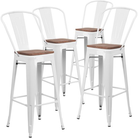 Fine Flash Furniture 4 Pk 30 High White Metal Barstool With Back And Wood Seat Short Links Chair Design For Home Short Linksinfo