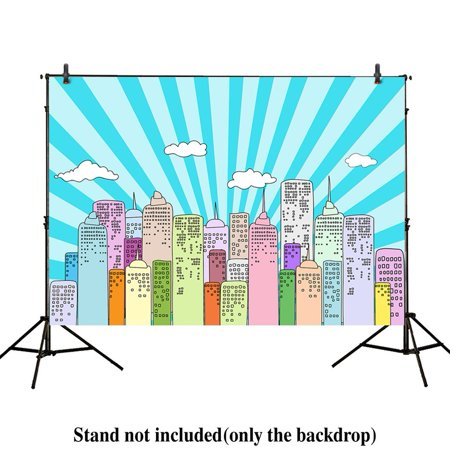 GreenDecor Polyster 7x5ft photography backdrops superhero super cartoon city skyline buildings children birthday party event banner photo studio booth background baby shower photocall - Superhero Skyline