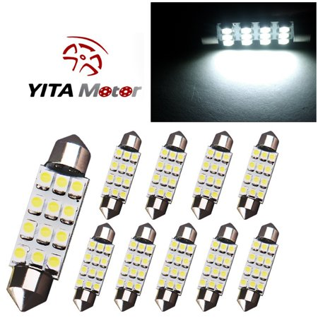 10PCS 42MM LED 12SMD Courtesy Car Interior Light Bulb Festoon Dome Lamp 6000K (White)