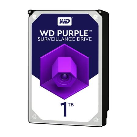 WD Purple 1TB Surveillance Hard Disk Drive - 5400 RPM Class SATA 6 Gb/s 64MB Cache 3.5 Inch - WD10PURZ