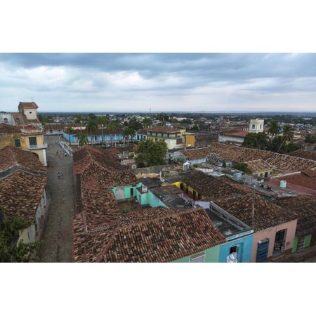 Cuba, Trinidad. Storm Clouds Above the Rooftops of Town Print Wall Art By Brenda - Above Rooftop Halloween