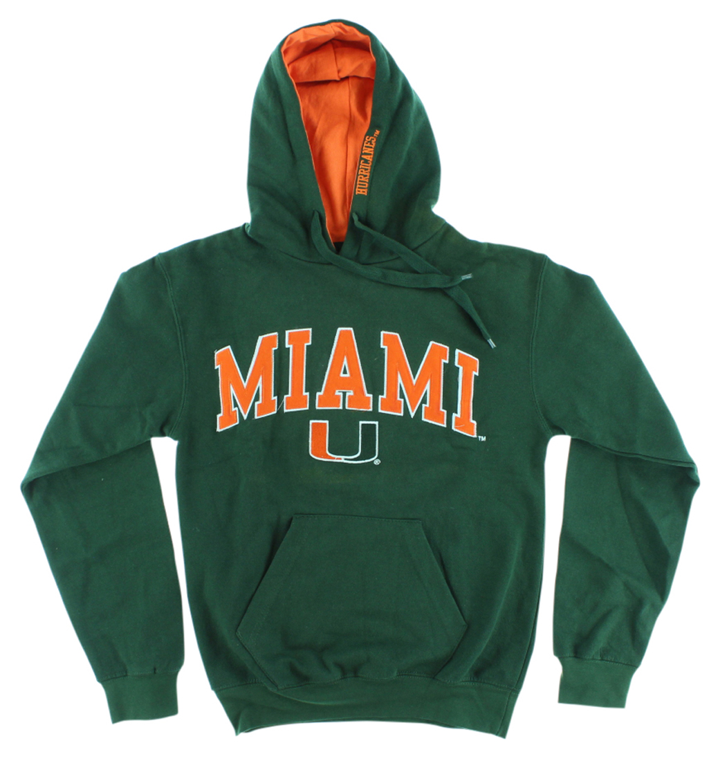Old Varsity Mens Miami Hurricanes College Arch Pullover Hoodie Dark Green by